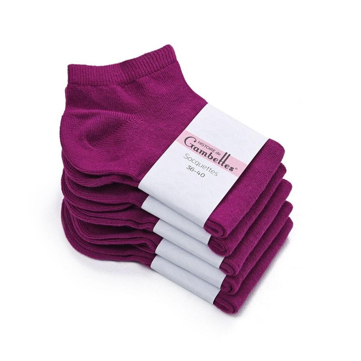 Socquettes Femme coton Prune (Lot de 5) - Fabriqué en europe