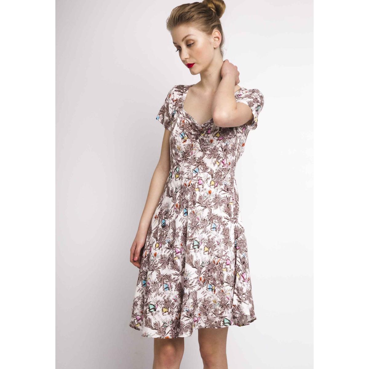 Платье La Redoute С рисунком пальмы V-образным вырезом и короткими рукавами XS бежевый блузка la redoute с v образным вырезом короткими рукавами и кружевом m бежевый