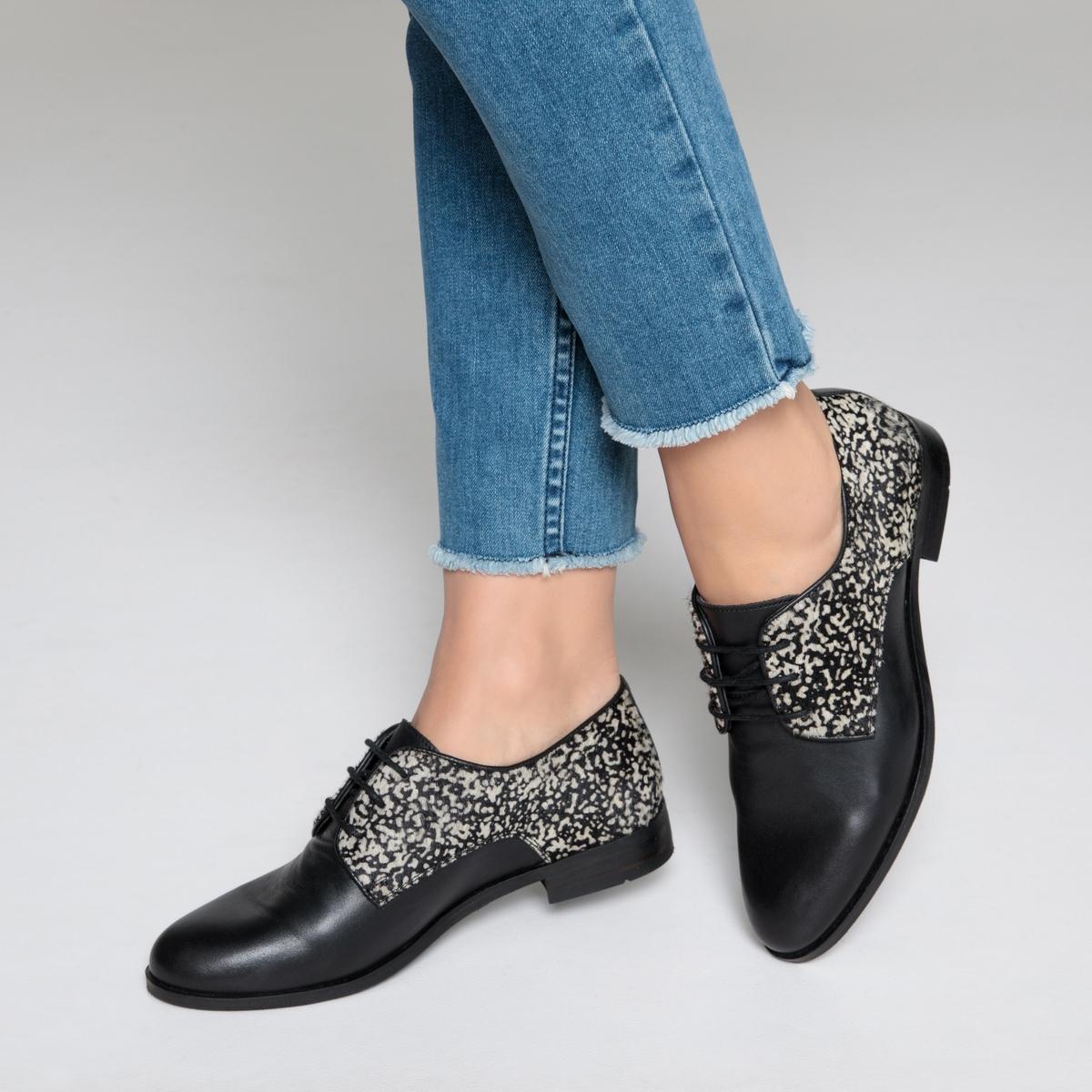Ботинки-дерби из ворсистой яловичной кожи в горох