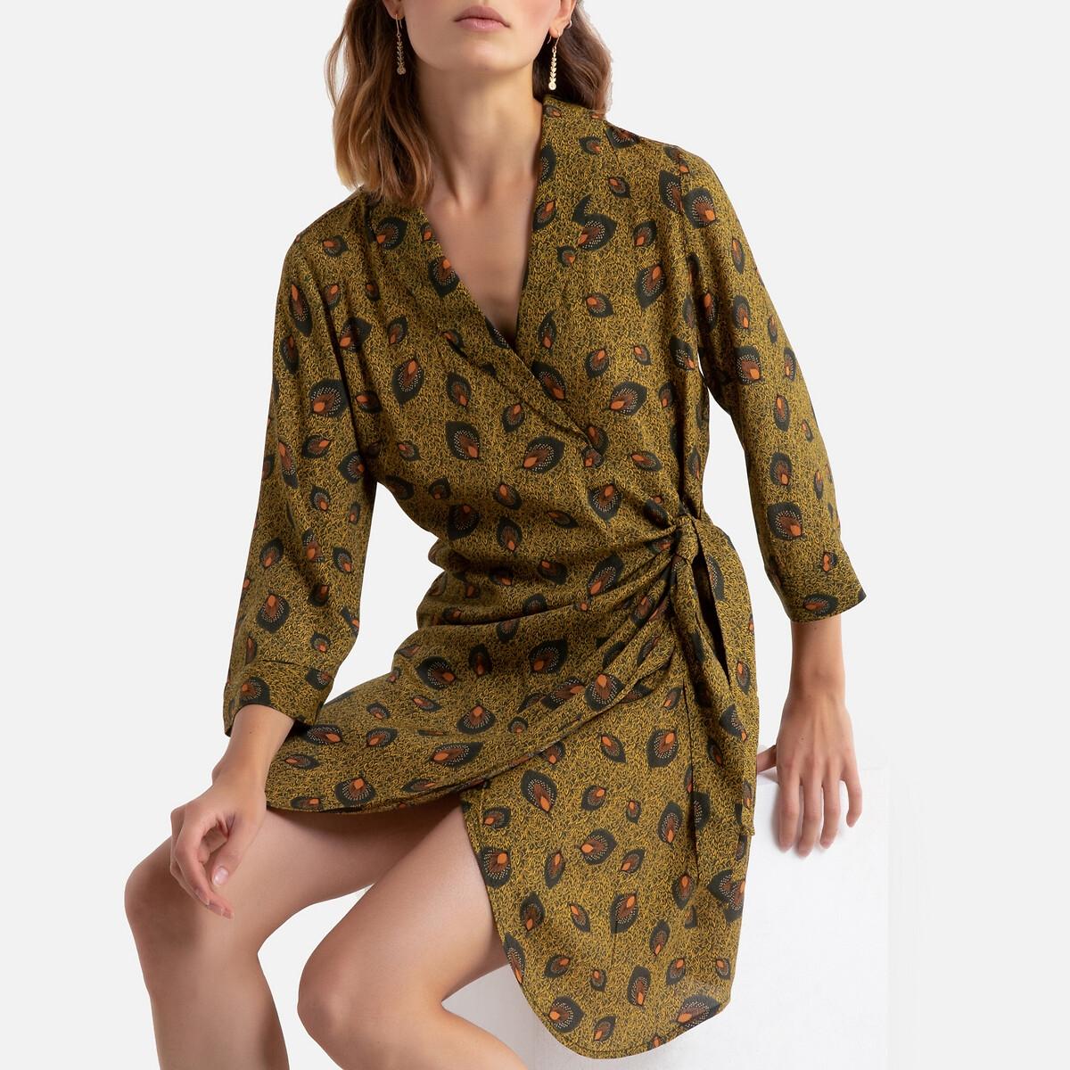 Платье La Redoute С запахом с принтом рукава 34 34 (FR) - 40 (RUS) желтый кеды сникеры la redoute с крокодиловым принтом 38 желтый