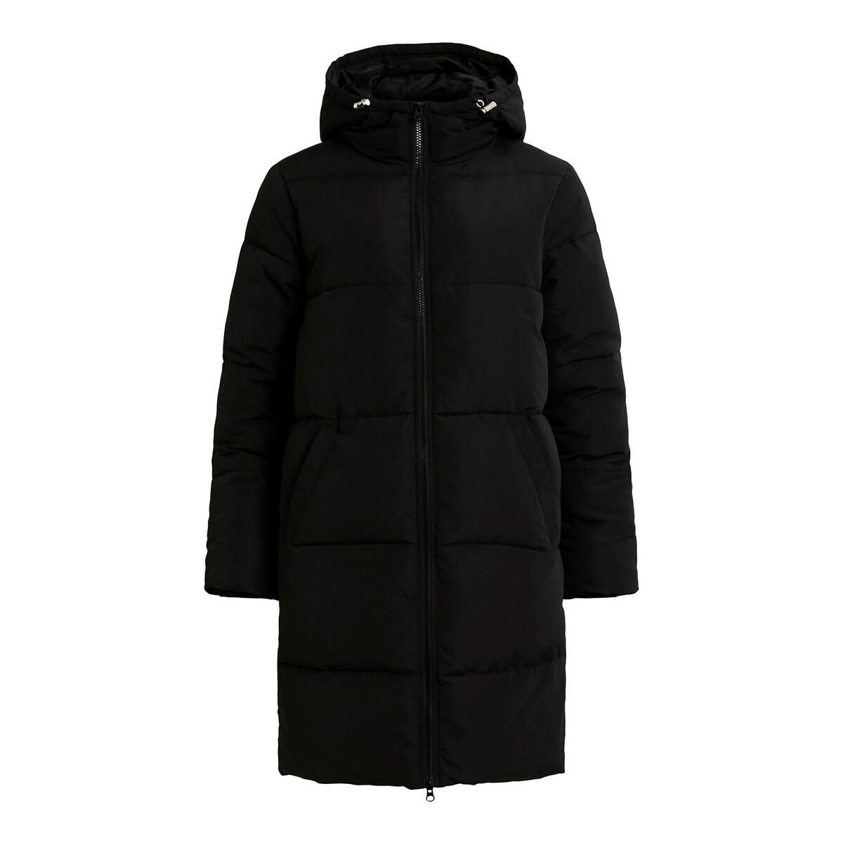 Куртка LaRedoute Стеганая длинная с капюшоном на молнии 36 (FR) - 42 (RUS) черный куртка la redoute стеганая на молнии с капюшоном idaho 2 3xl синий
