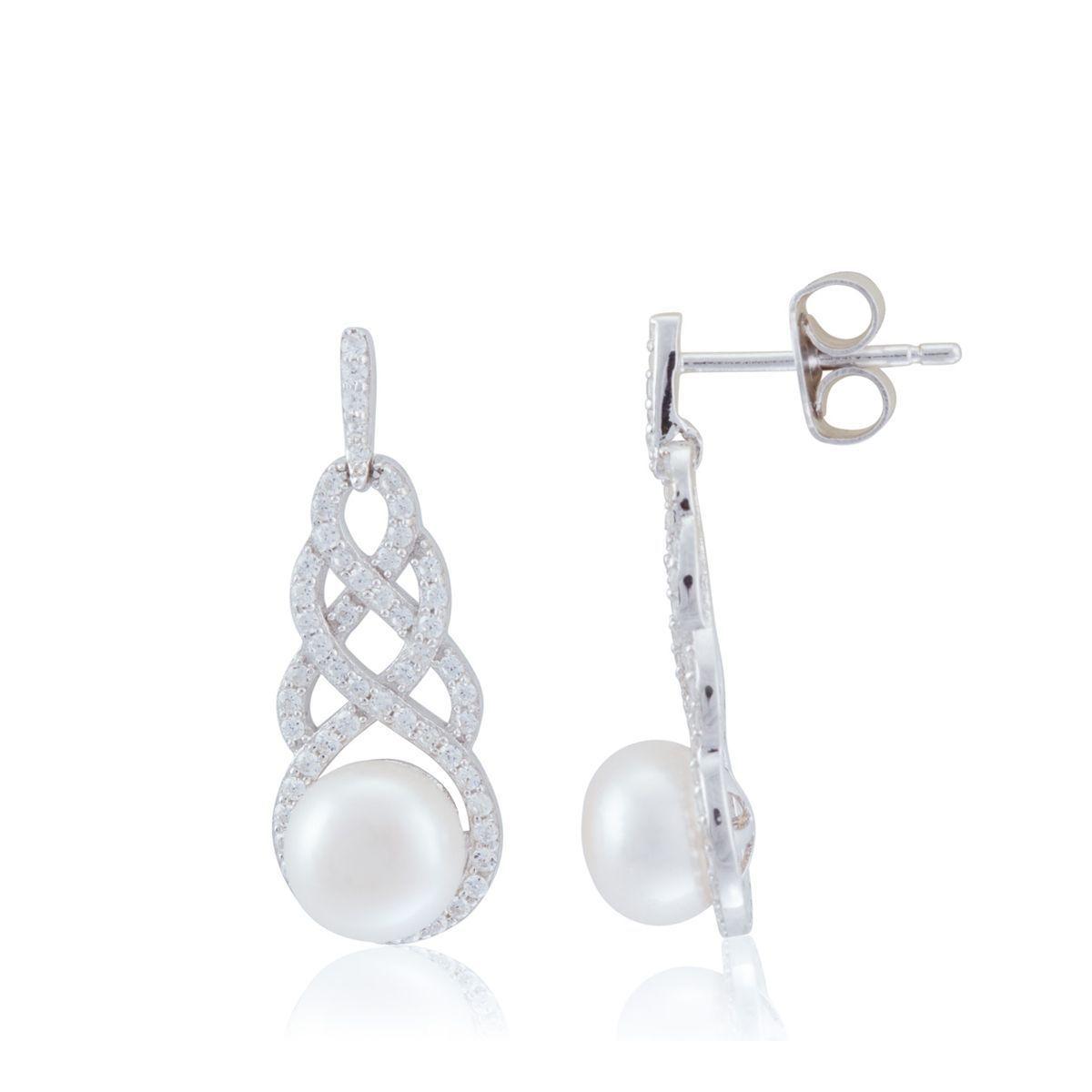 Boucles D'oreilles Argent Oxydes Perles Blanches Victoria Kiss