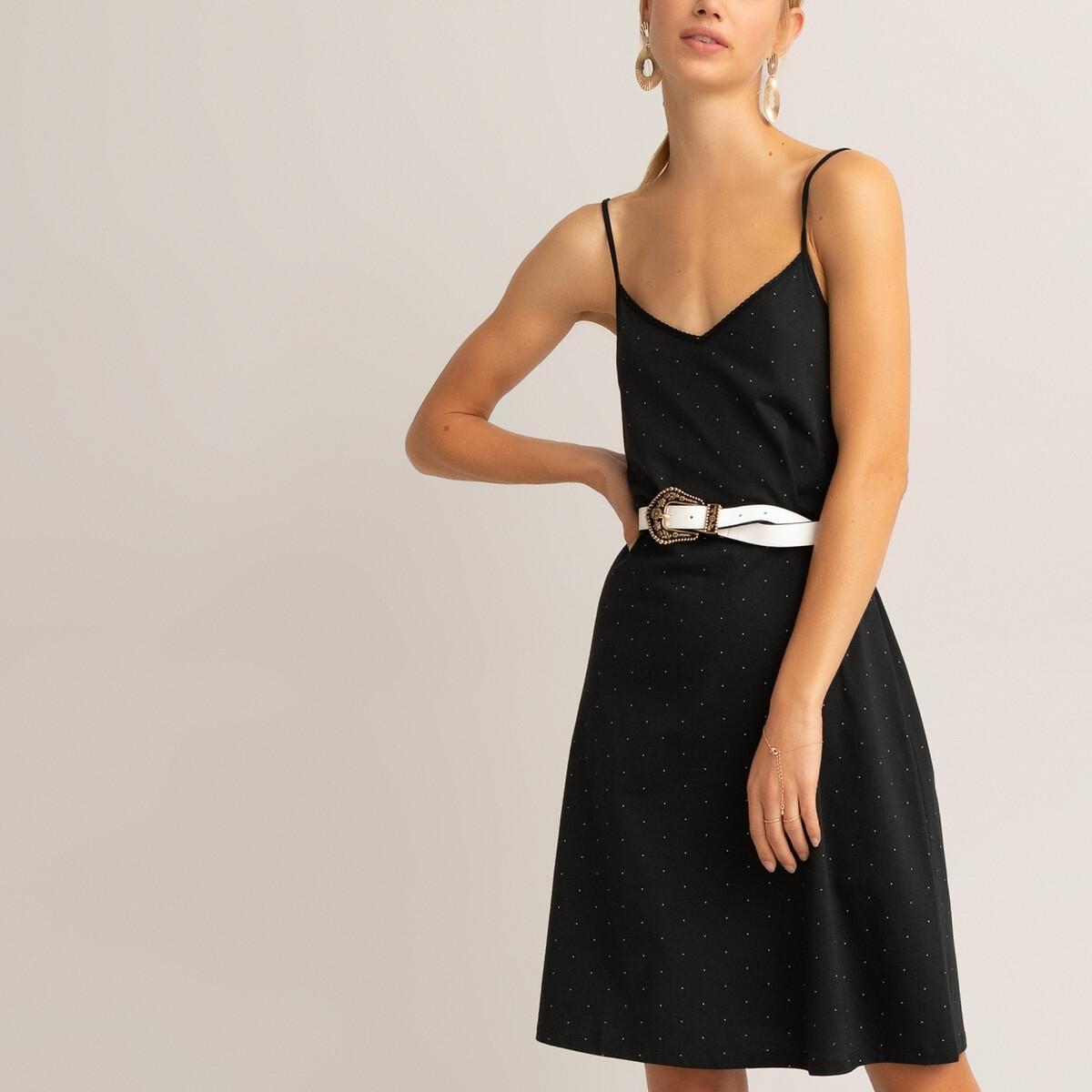 Платье LaRedoute — Короткое на тонких бретелях с принтом в горошек XS черный