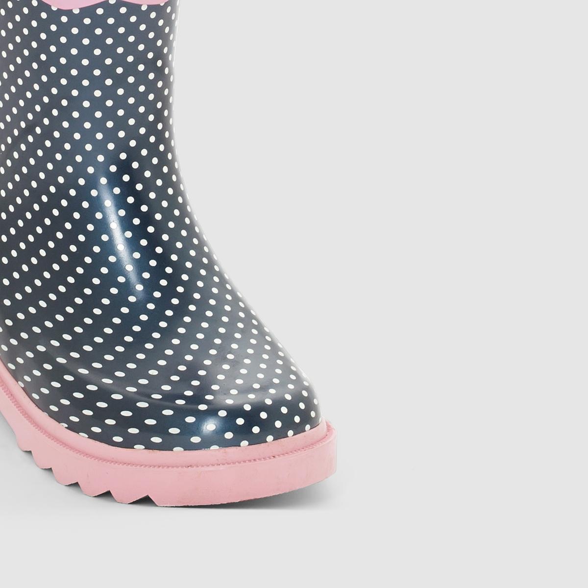 Сапоги резиновые BE ONLY, IRISОписание:Детали  •  Резиновые сапоги •  Плоский каблук •  Круглый мысок •  Застежка : без застежки •  Высота каблука : 1 см.Состав и уход  •  Верх 100% каучук •  Подкладка 100% хлопок •  Стелька 100% текстиль •  Подошва 100% каучук<br><br>Цвет: темно-синий в белый горошек<br>Размер: 25