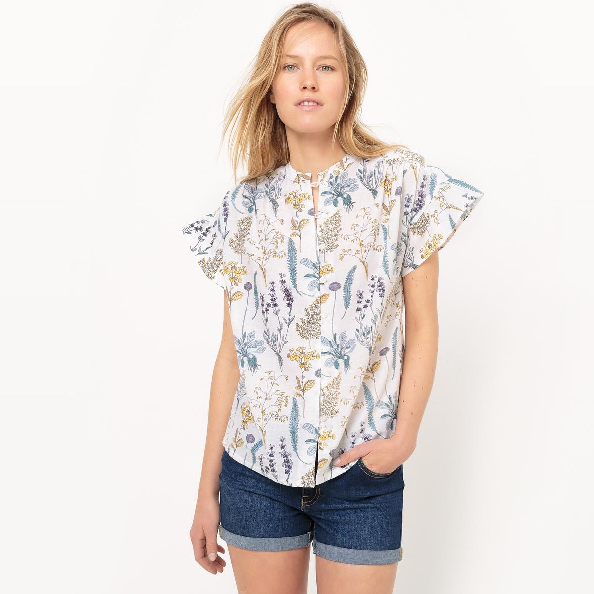 Блузка с воланами, прямой покрой