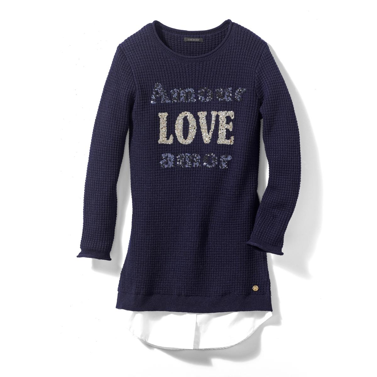 Платье-пуловер 3 - 14 летОписание:Платье-пуловер синего цвета для девочек . Рифленый трикотаж, вышивка с блестками Отделка выреза, рукавов и груди в рубчик .Оптическая иллюзия- белая рубашка Детали •  Форма : расклешенная •  Длина до колен •  Длинные рукава    •  Круглый вырезСостав и уход •  68% хлопка, 2% других волокон, 30% полиэстера •  Следуйте советам по уходу, указанным на этикетке<br><br>Цвет: темно-синий