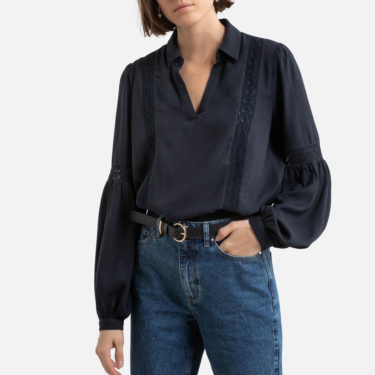 Блузка LaRedoute С рубашечным воротником и вышивкой 38 (FR) - 44 (RUS) синий блузка laredoute с рубашечным воротником и вышивкой 38 fr 44 rus синий