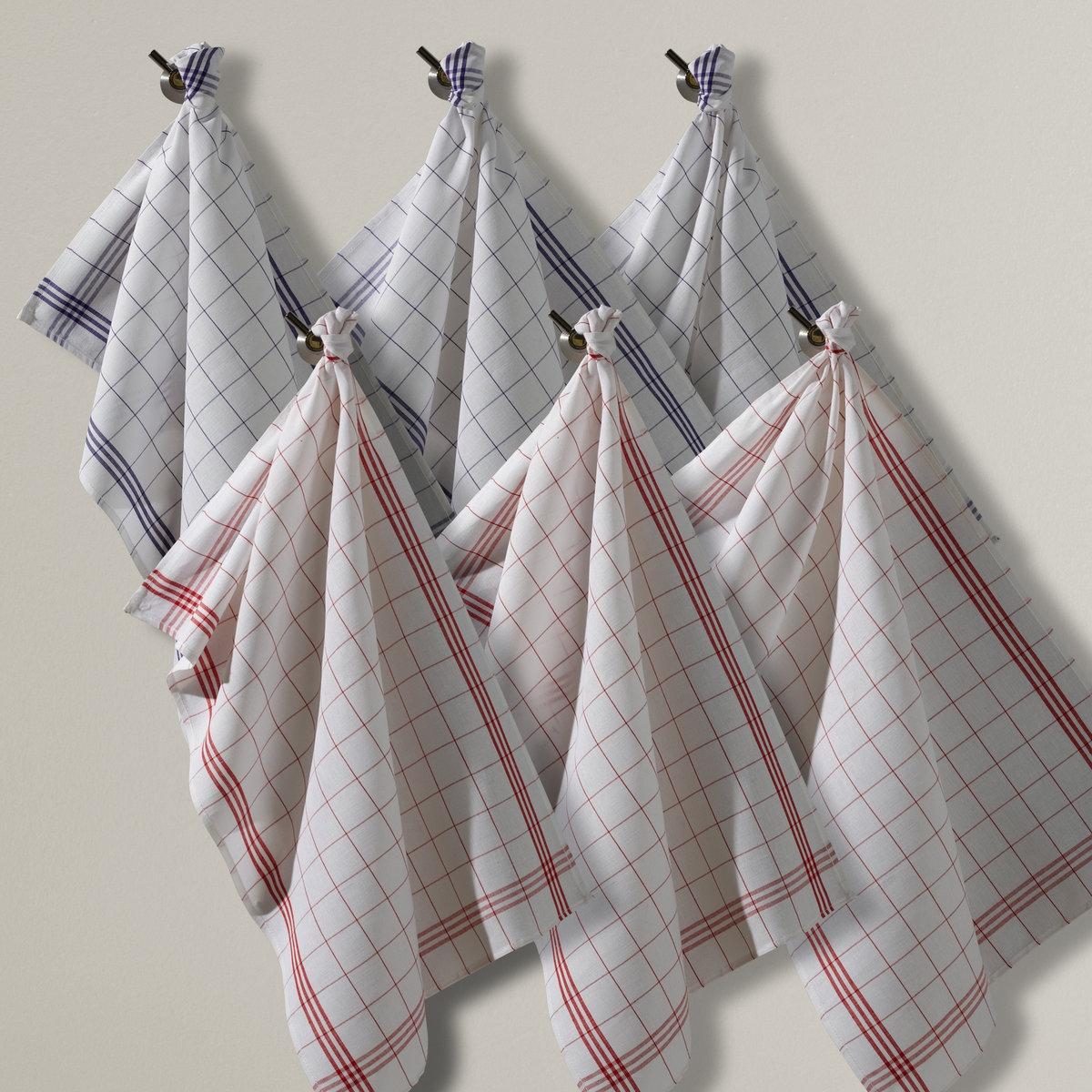 6 полотенец кухонных Колас6 кухонных полотенец Колас из смесовой ткани, 50% льна, 50% хлопка. 3 красных и 3 синий полотенца. Прочный материал, не теряющий формы, превосходно впитывает влагу и легко гладится. Стирка при 60°. Размер: 55 х 80 см.<br><br>Цвет: синий + красный<br>Размер: комплект из 6