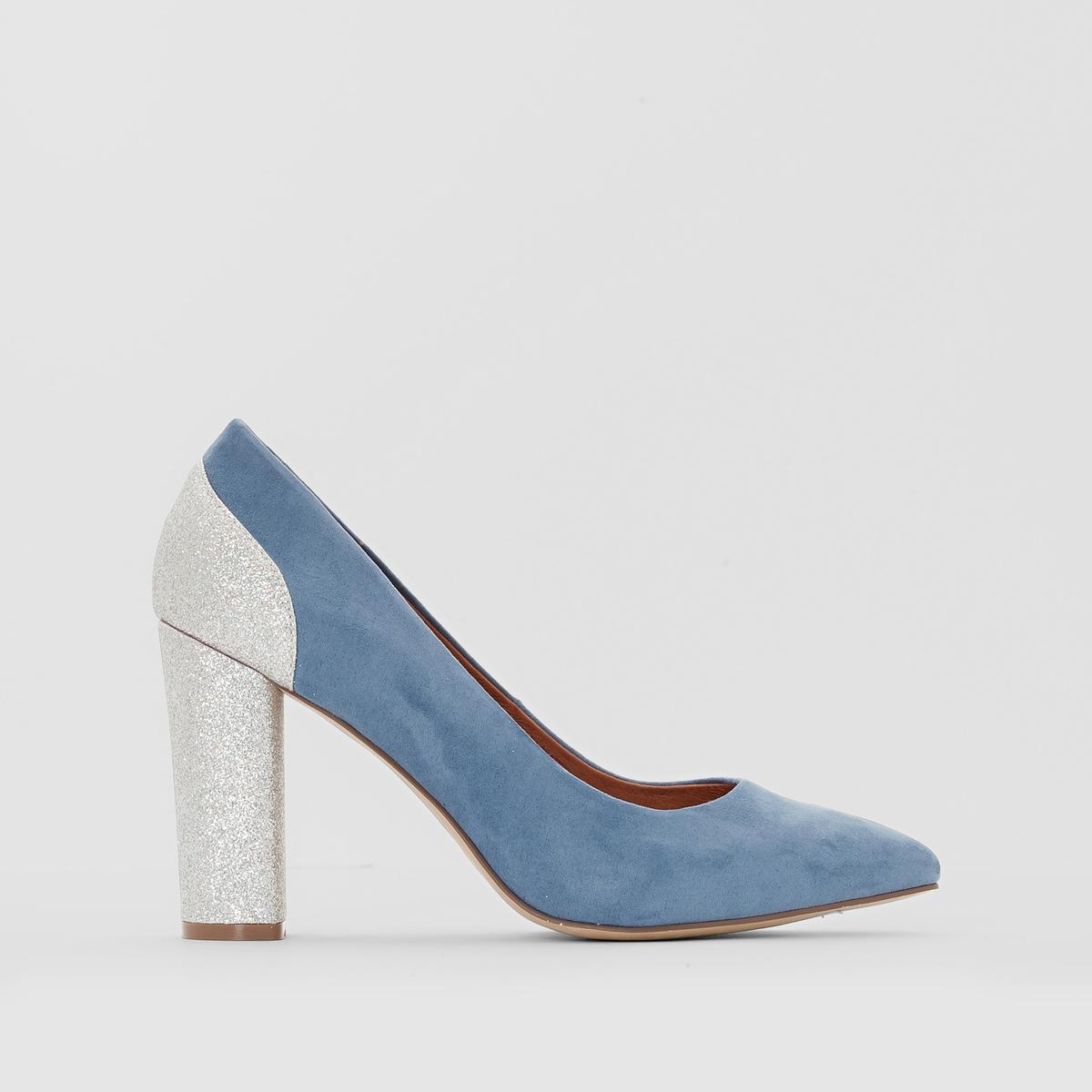 Туфли на каблуке с блёсткамиПодкладка : кожа             Стелька : кожа             Подошва : эластомер             Высота каблука : 9 см                 Форма каблука : высокий             Мысок : заостренный             Застежка : Без застежки<br><br>Цвет: синий,черный<br>Размер: 37.38.40.37