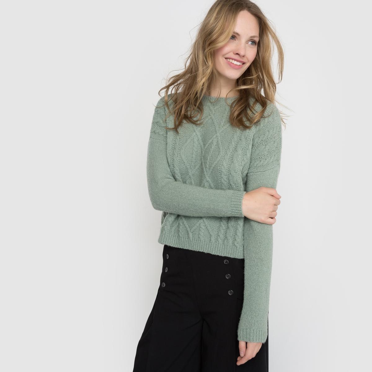 Пуловер короткий с узором косыСостав и описание :Длина : 52 смМатериал : 72% акрила, 25% полиамида, 3% эластанаМарка :      R ?ditionУходСтирка при 30° с одеждой подобного цвета Не гладить<br><br>Цвет: зеленый нефрит,розовый<br>Размер: 46/48 (FR) - 52/54 (RUS)
