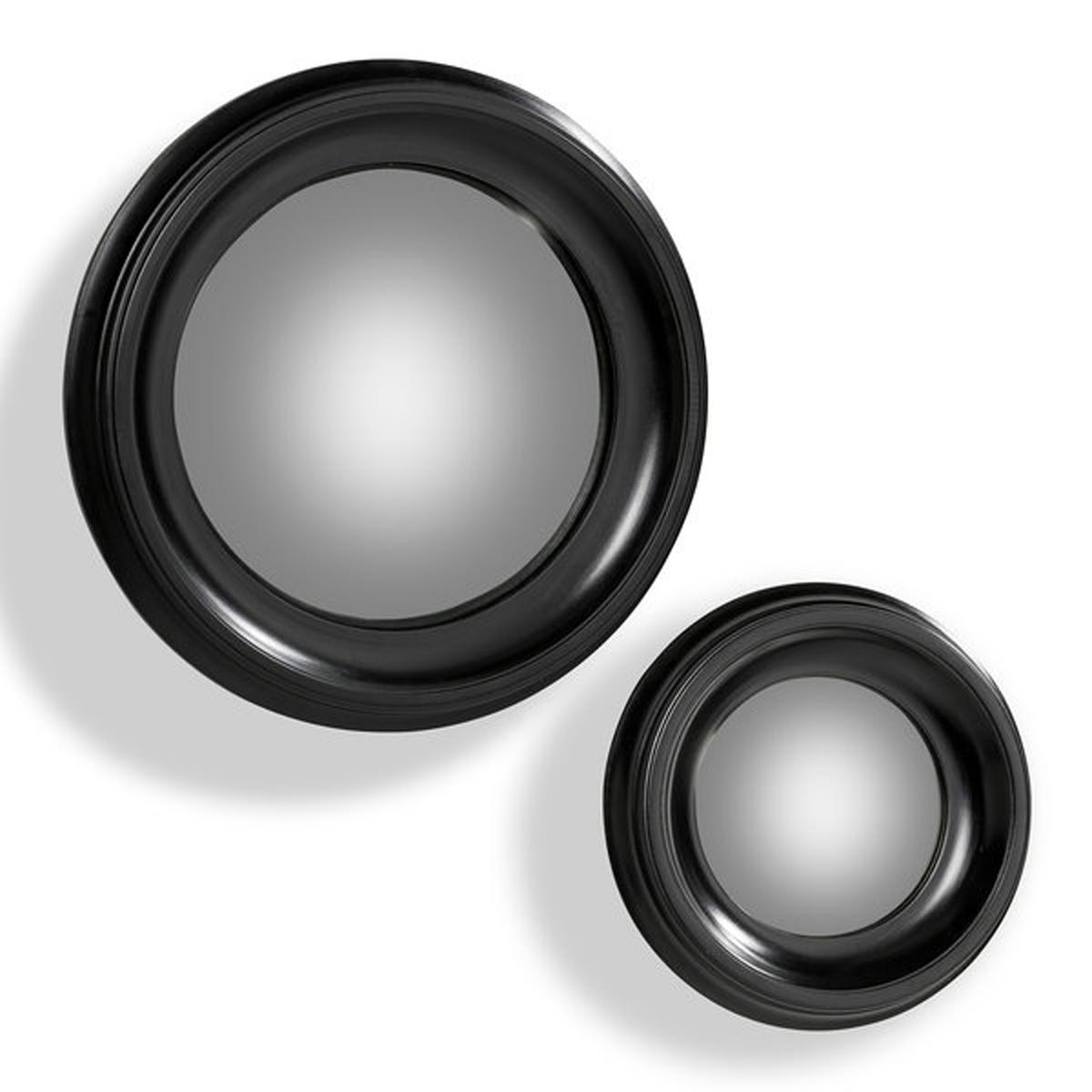 Зеркало Habel с черной рамой, диаметр 40 смЗеркало с выпуклым алюминиевым стеклом наделит Вас магической силойРама из МДФ, лакированная отделка черного цвета.Крепление на стену с помощью врезанного металлического люверса.Диаметр 40 см.<br><br>Цвет: черный<br>Размер: единый размер
