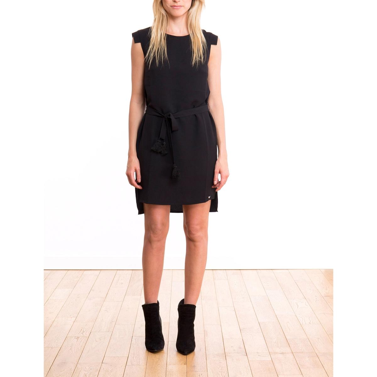 Платье средней длины с короткими рукавамиДетали •  Форма : с запахом  •  Длина до колен •  Короткие рукава    •   V-образный вырезСостав и уход •  100% полиэстер •  Подкладка : 100% полиэстер •  Следуйте рекомендациям по уходу, указанным на этикетке изделия<br><br>Цвет: черный<br>Размер: M.L