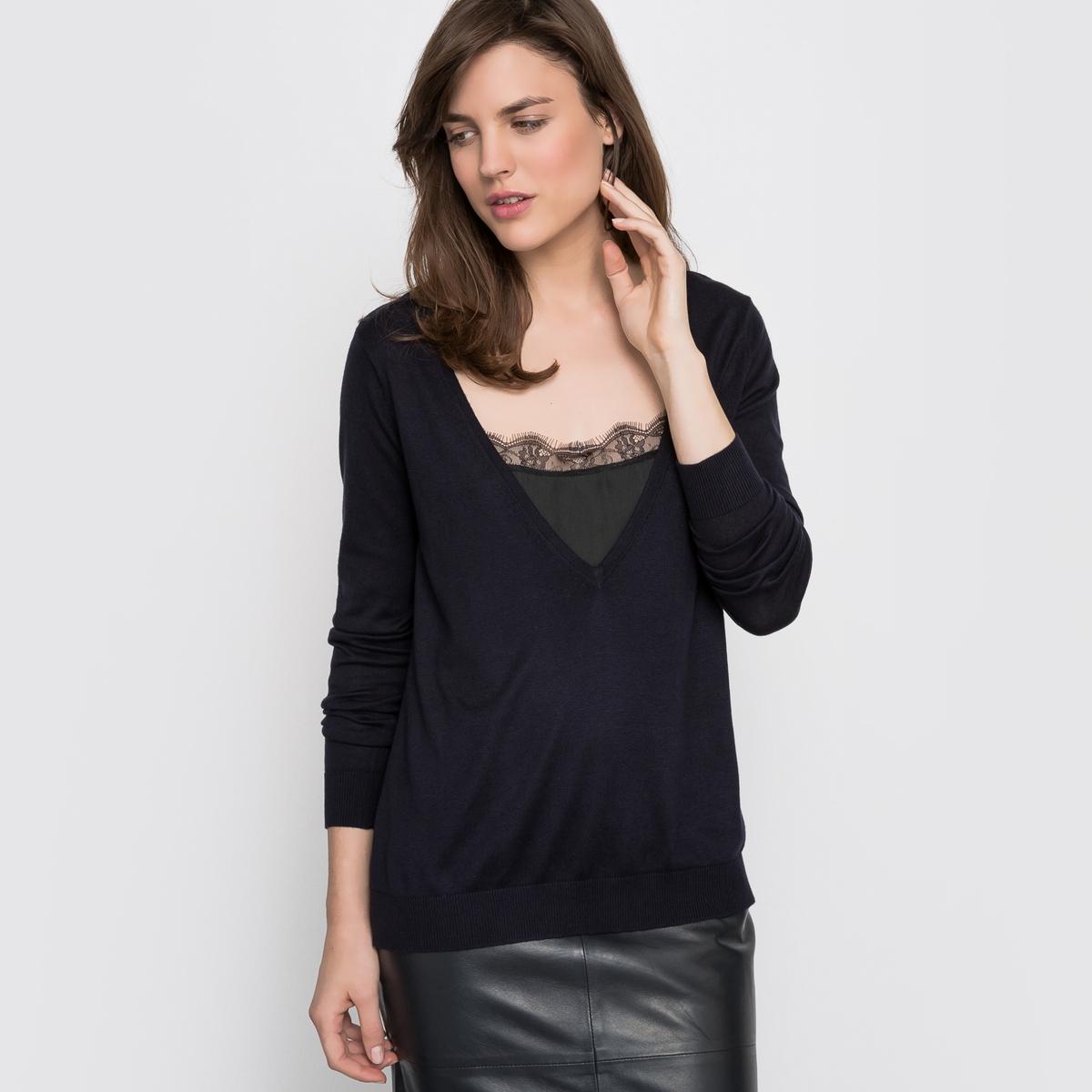 Пуловер с длинными рукавами 2 в 1Данный товар отмечен знаком качества BEST. Это изделие отличается высоким качеством благодаря элегантности материалов и изящности отделки и покроя.<br><br>Цвет: серый меланж,темно-синий,черный<br>Размер: 38/40 (FR) - 44/46 (RUS).38/40 (FR) - 44/46 (RUS)