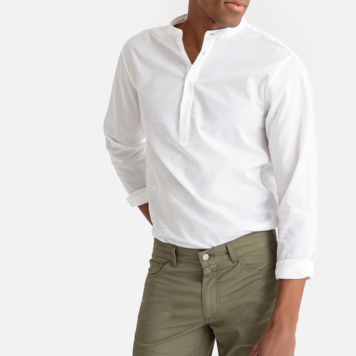 Рубашка прямого покроя с круглым вырезом с разрезом спереди и длинными рукавами