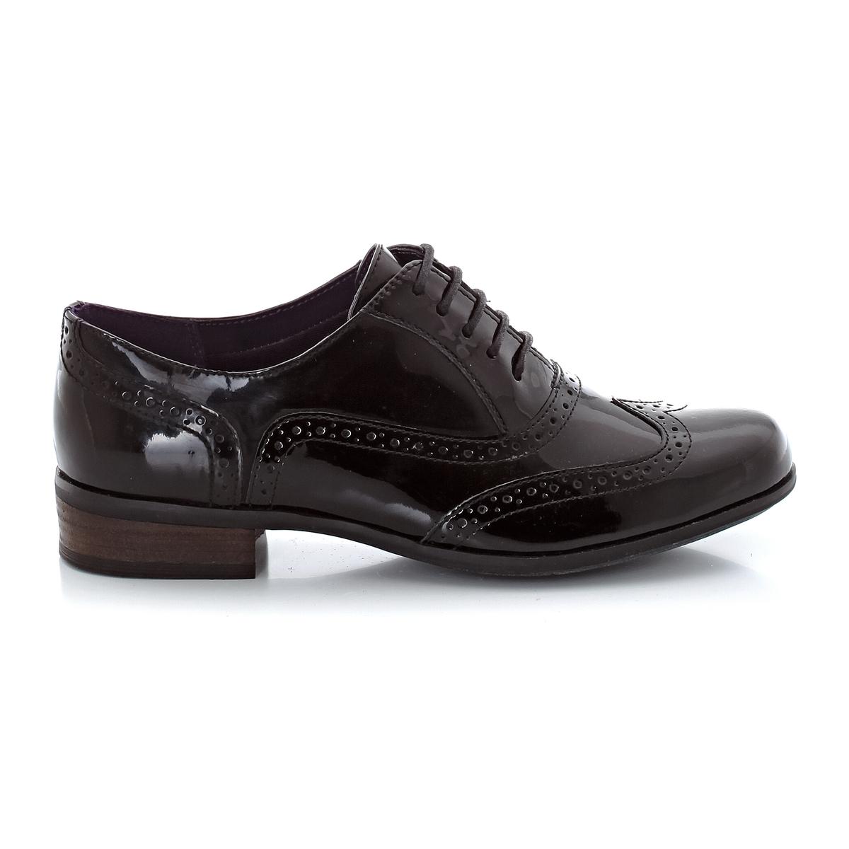 Ботинки-дерби из лакированной кожи, на шнуровке и небольшом каблуке