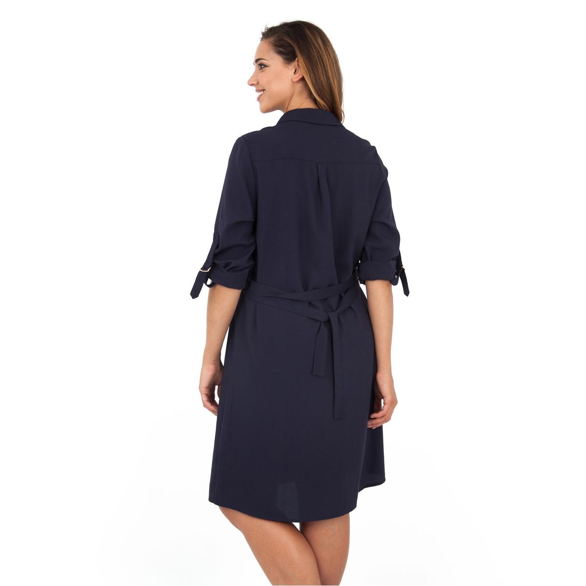 ПлатьеПлатье - LOVEDROBE. Красивое платье с рубашечным воротником и ремнем на поясе. Длина ок.104 см. 100% полиэстера. Застежка на золотистую пуговицу спереди.<br><br>Цвет: темно-синий<br>Размер: 54/56 (FR) - 60/62 (RUS)