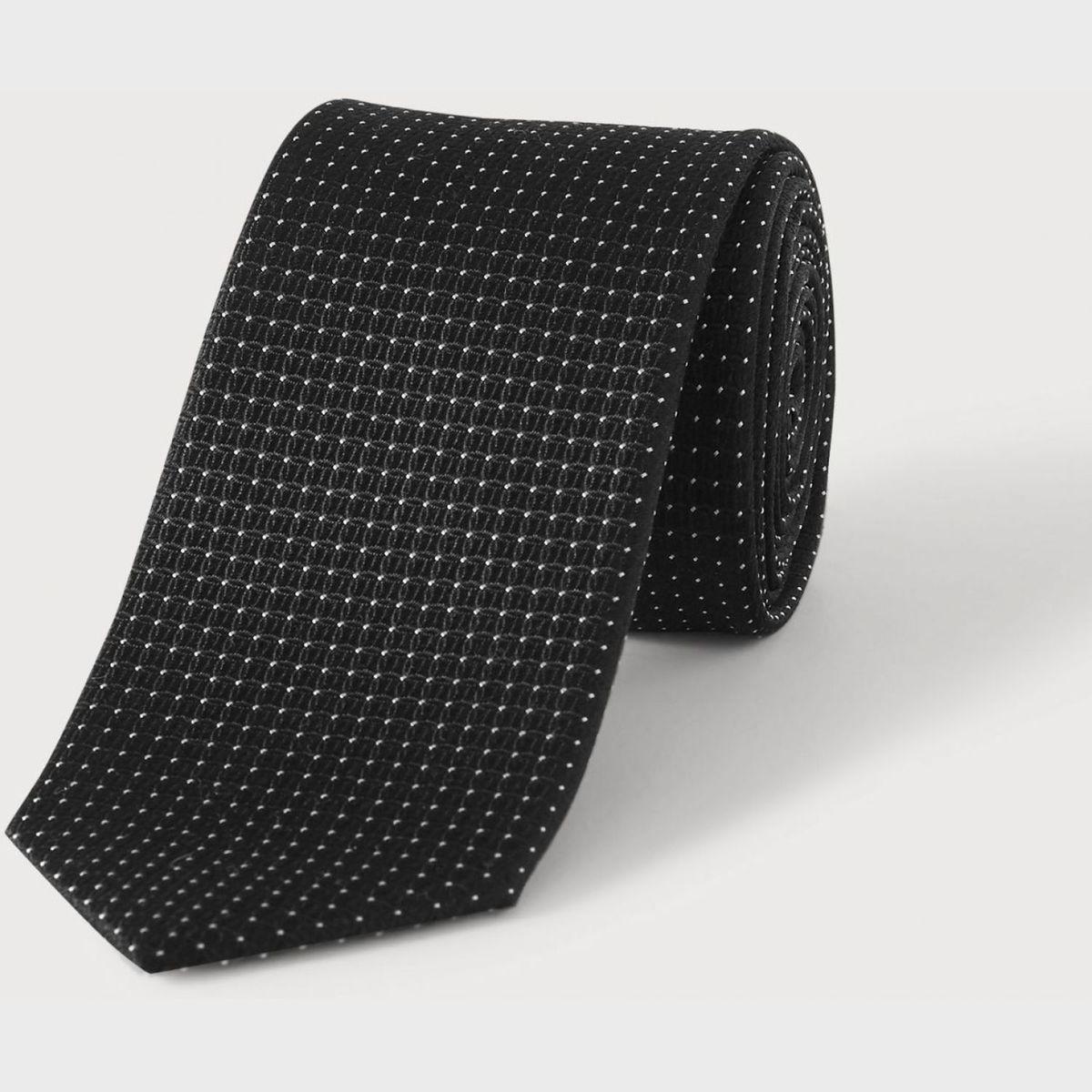 Cravate argent à micro motif carreaux