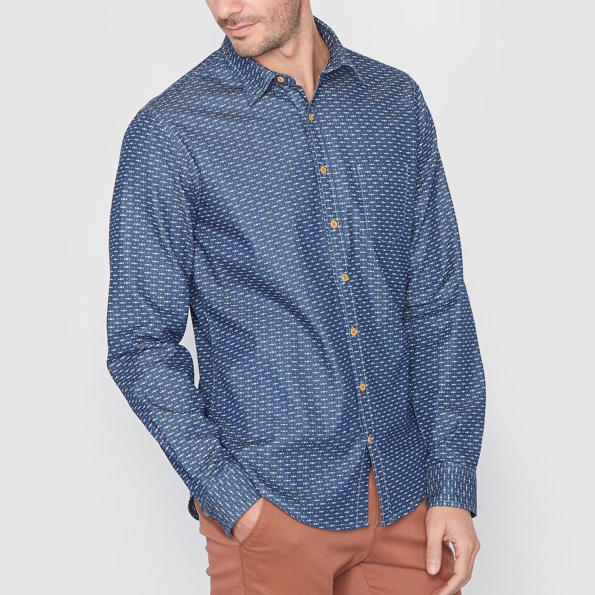 Рубашка джинсовая стандартного покроя с рисункомРубашка из денима с рисунком, 100% хлопка . Стандартный (прямой) покрой . Свободные уголки воротника  . Нагрудный карман . Длина 75,5 см .<br><br>Цвет: деним с рисунком
