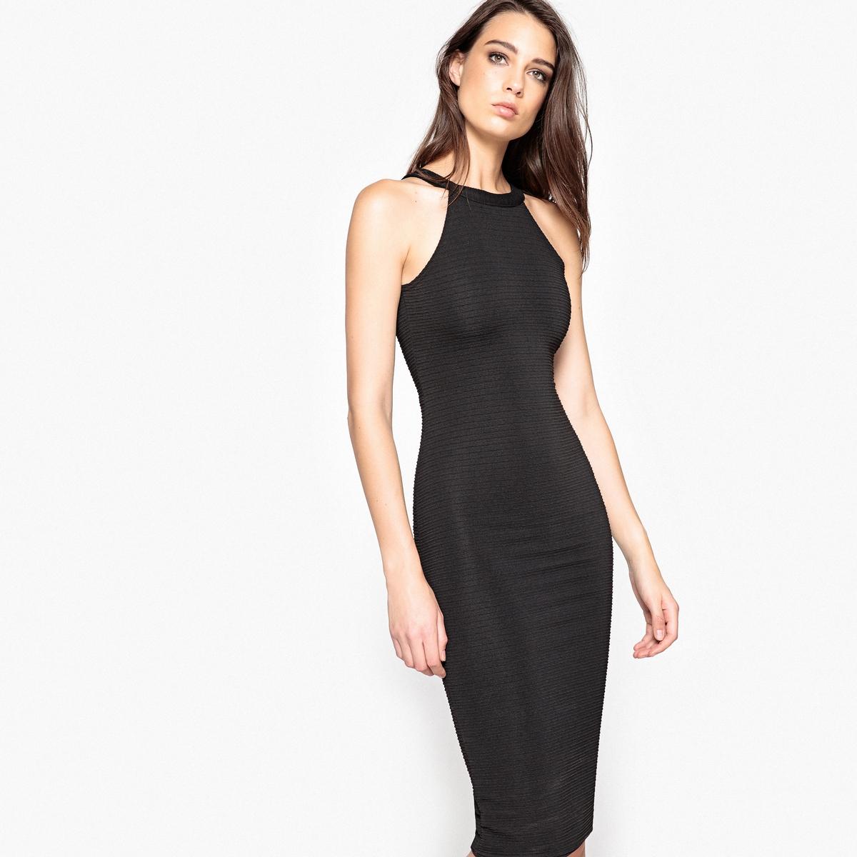 Платье однотонное облегающее, длина миди