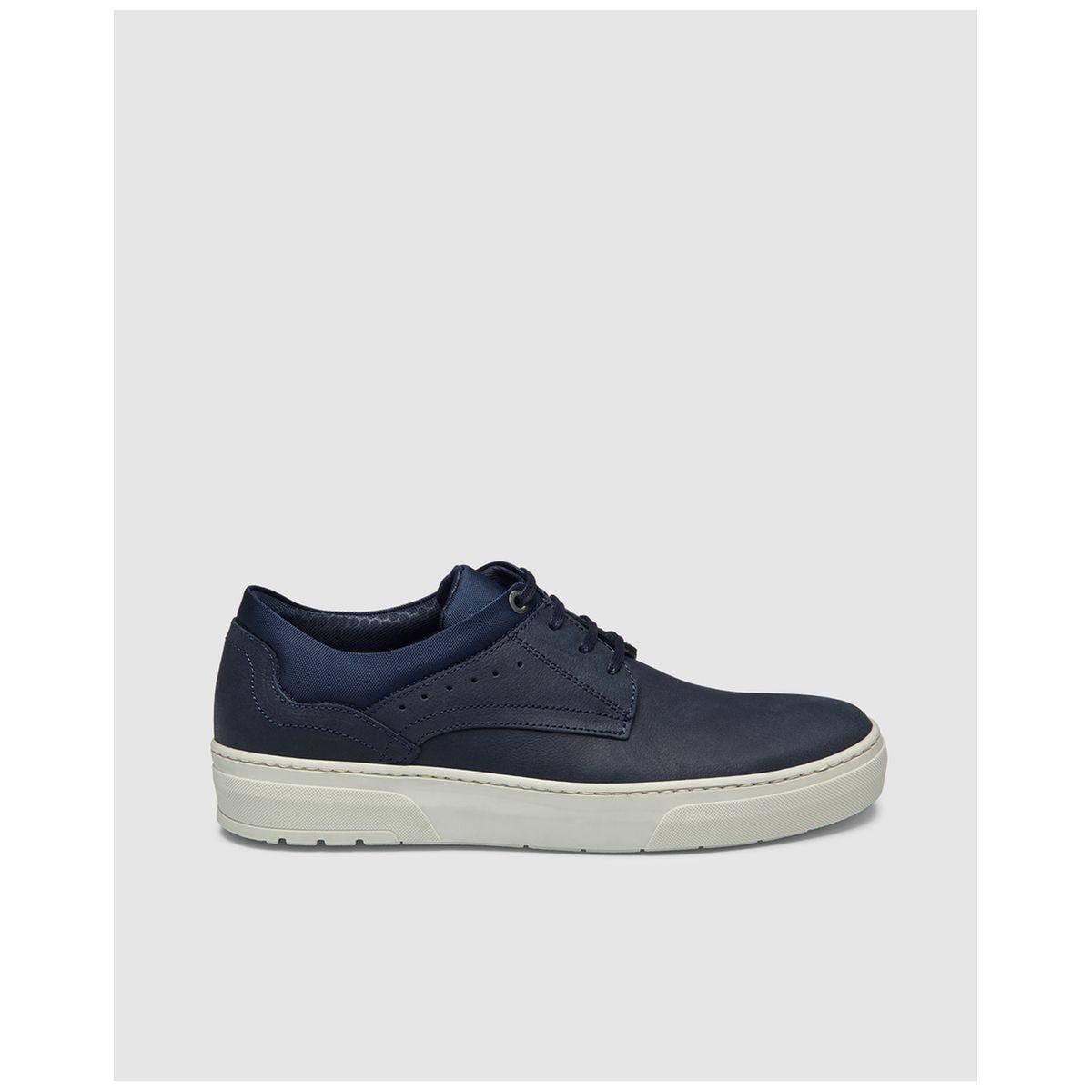 Chaussures à lacets en nubuck bleu