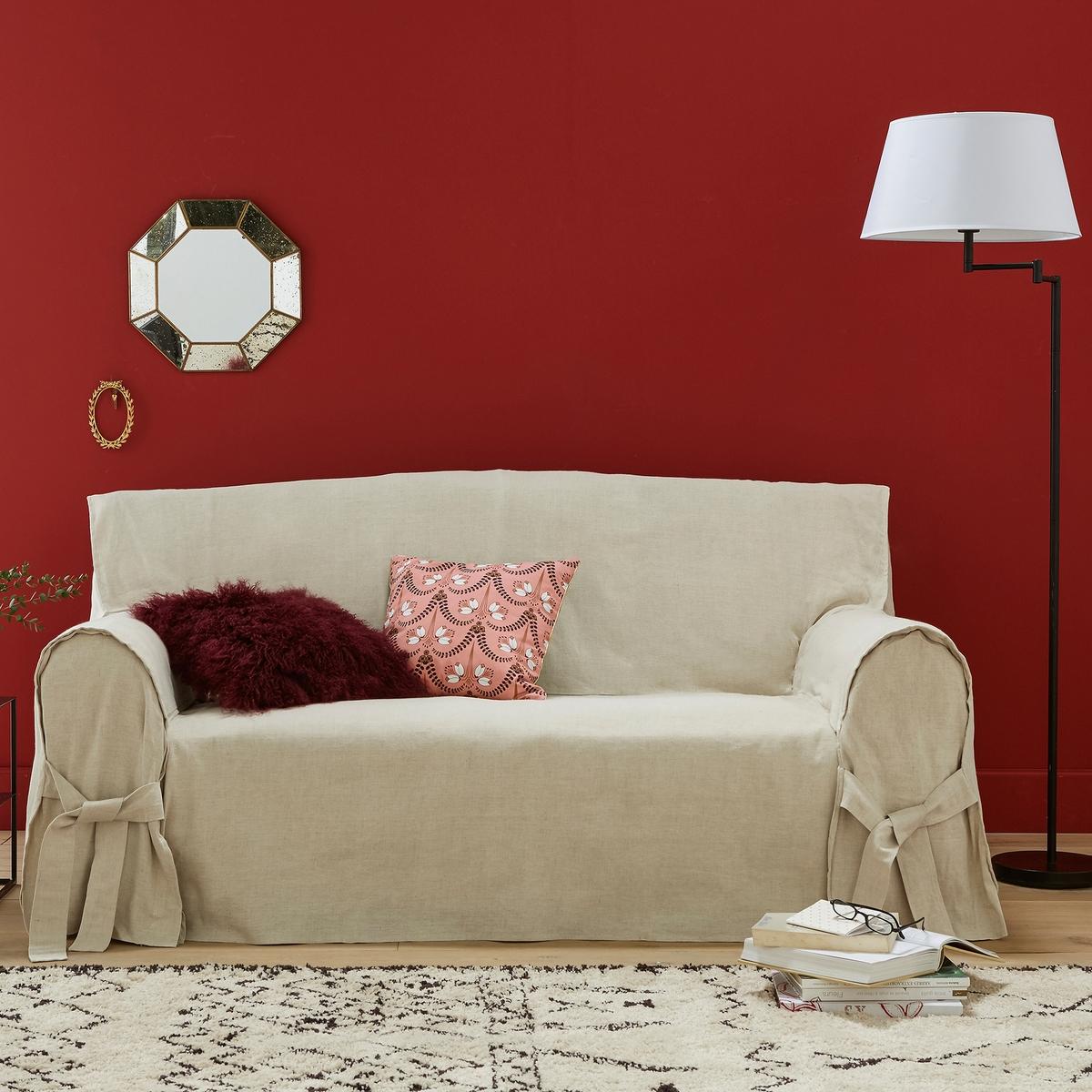 Чехол для диванаКачество VALEUR SURE. Плотная смесовая ткань исключительного качества,  55% льна, 45% хлопка. Общие размеры: общая высота 102 см, глубина сиденья 60 см. Стирка при 40°. Превосходная стойкость цвета к солнечным лучам. 2-местный диван: максимальная ширина 142 см, 2-3-местный диван: максимальная ширина 180 см. 3-местный диван: максимальная ширина 206 см.<br><br>Цвет: серо-бежевый