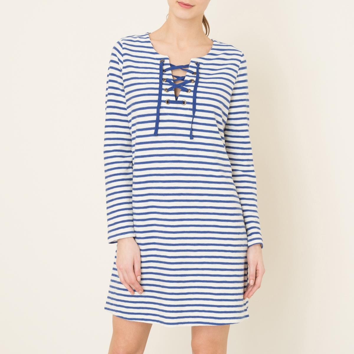Платье в полоску RAELYNСостав и описаниеМатериал : 100% хлопокДлина : 89 см для размера SМарка : LEON AND HARPER<br><br>Цвет: белый/ синий