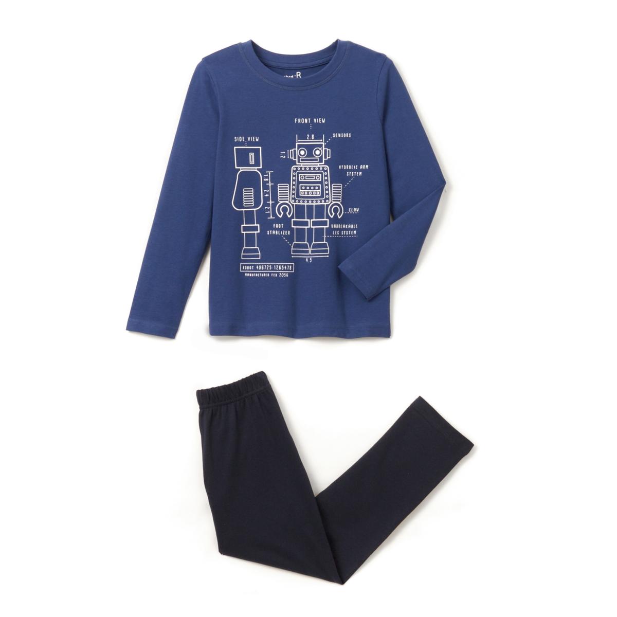Пижама с рисунком робот из хлопка, 2-12 лет