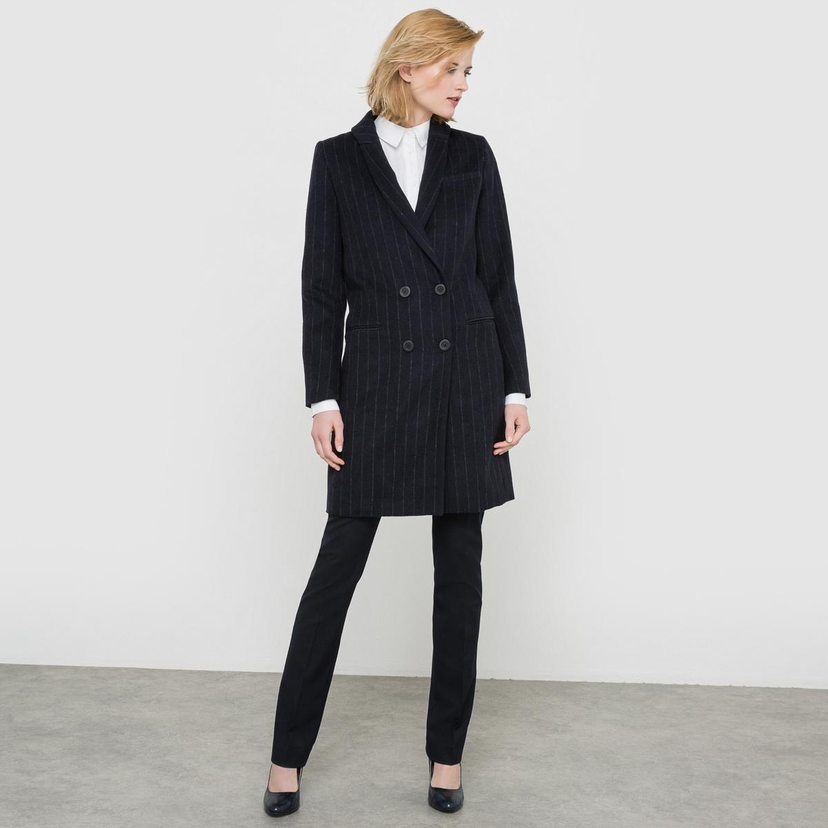Пальто из шерстяного драпа, 53% шерсти пальто из шерстяного драпа длиной 3 4