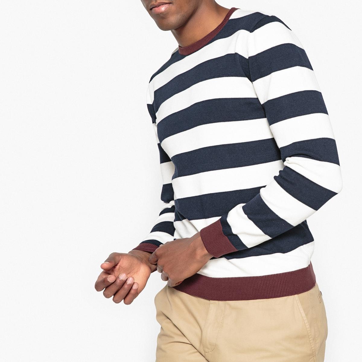 Пуловер в полоску с круглым вырезом