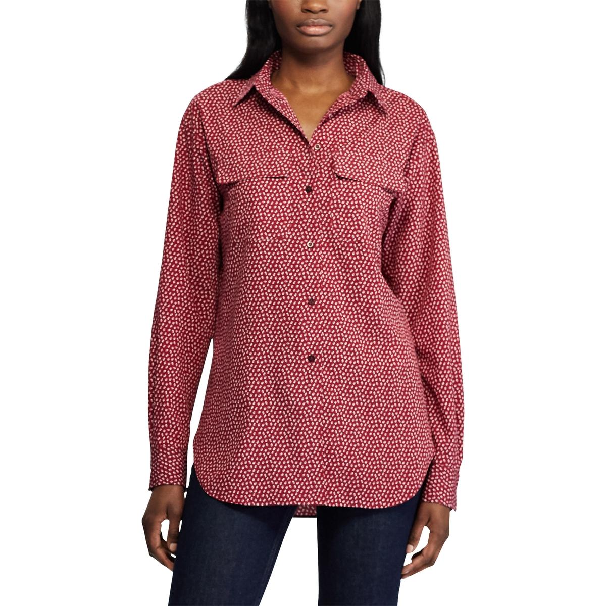 купить Рубашка La Redoute С рисунком и длинными рукавами M красный по цене 11849 рублей