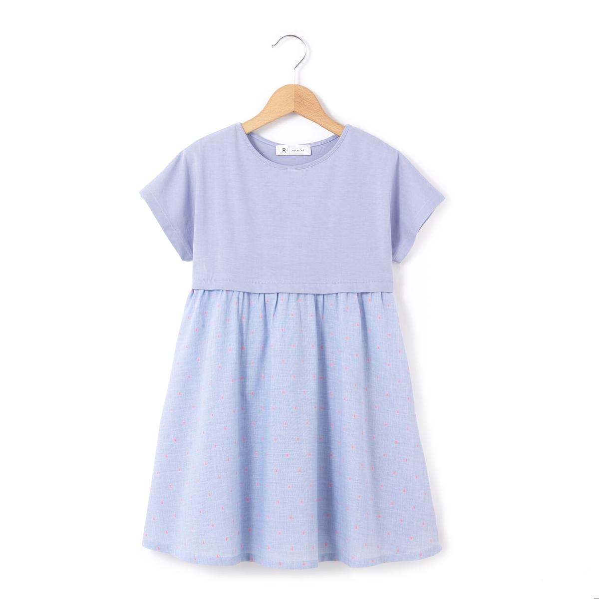 Платье из двух материалов с короткими рукавами, 3-12 лет