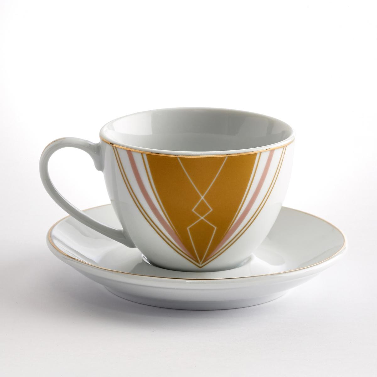Чашка + блюдце фарфоровые (4 шт.) PALATOХарактеристики 4 чашек и блюдец Palato :Из фарфора.Винтажный рисунок.Золотистая кайма.Размеры 4 чашек и блюдец Palato :Чашки : диаметр. 6,5 x высота 9 см.Блюдца : диаметр. 14 x высота 2 см.Другие чашки и предметы наших коллекций декора стола вы можете найти на сайте laredoute.ru<br><br>Цвет: набивной рисунок<br>Размер: единый размер