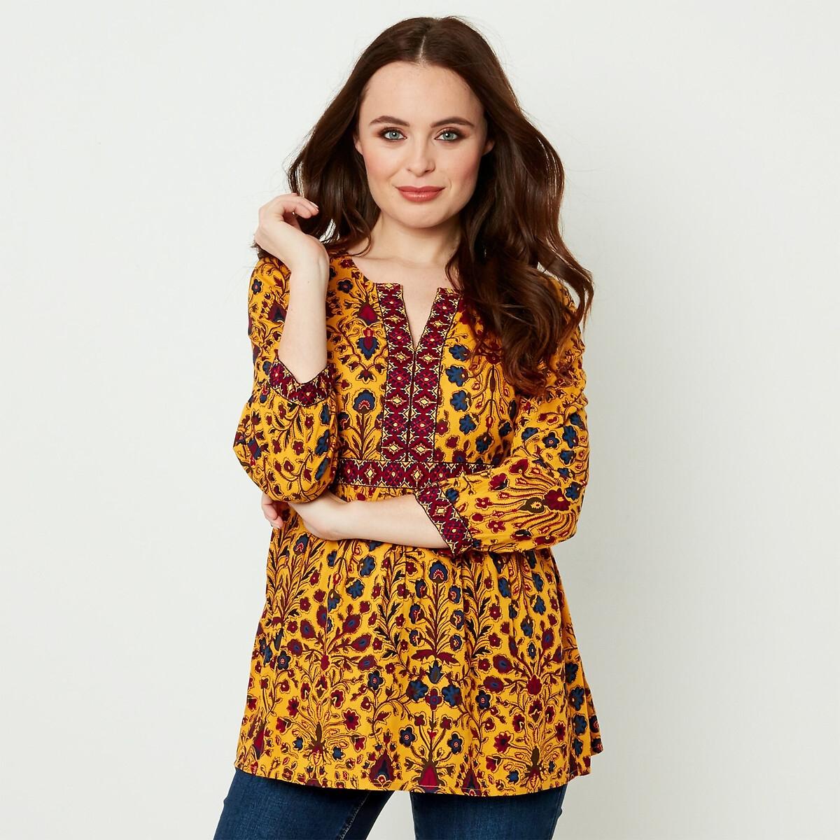 Блузка La Redoute С цветочным принтом V-образным вырезом и рукавами 38 (FR) - 44 (RUS) желтый блузка la redoute с цветочным принтом и v образным вырезом 42 fr 48 rus красный