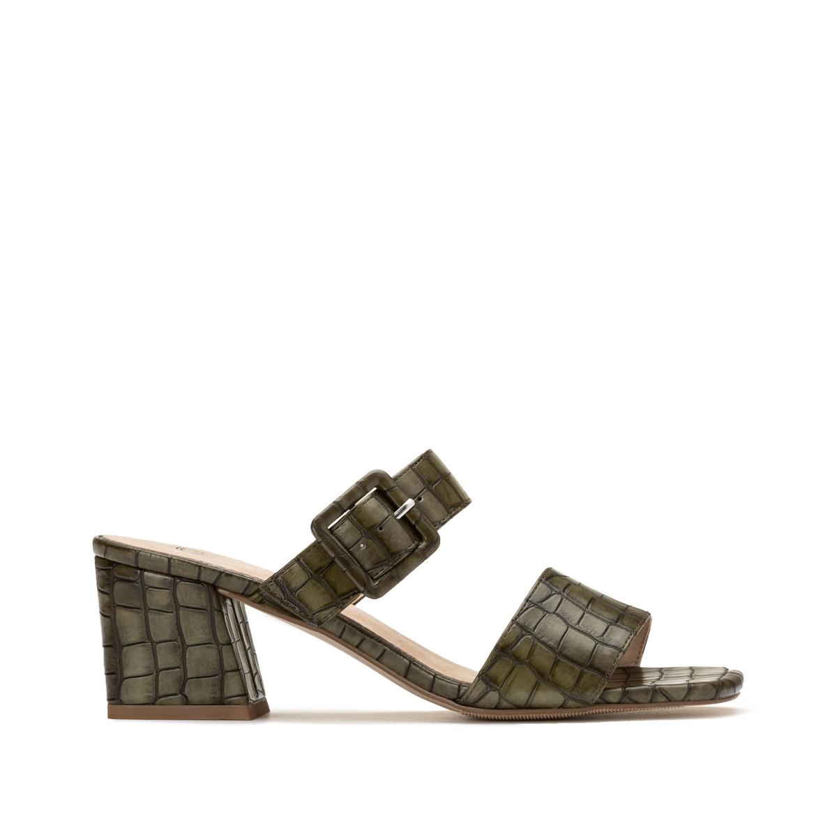 Туфли La Redoute Без задника под кожу крокодила на высоком каблуке 41 зеленый