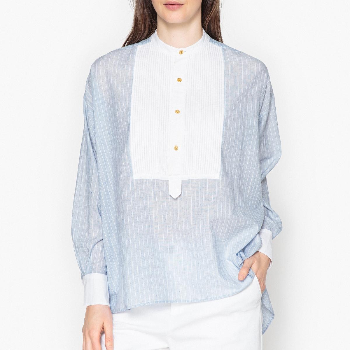 Блузка с галстуком-бантом и длинными рукавами PILLARОписание:Блузка в полоску с длинными рукавами LAURENCE BRAS - модель PILLAR. Форма рубашки из тонкой ткани в полоску, плиссированная манишка под вырезом. Пуговицы золотистого цвета.Манжеты контрастного белого цвета с застежкой на 1 пуговицу золотистого цвета. Длиннее сзади.Детали •  Длинные рукава •  Прямой покрой •  Галстук-бантСостав и уход •  100% хлопок •  Следуйте рекомендациям по уходу, указанным на этикетке изделия<br><br>Цвет: синий/ белый
