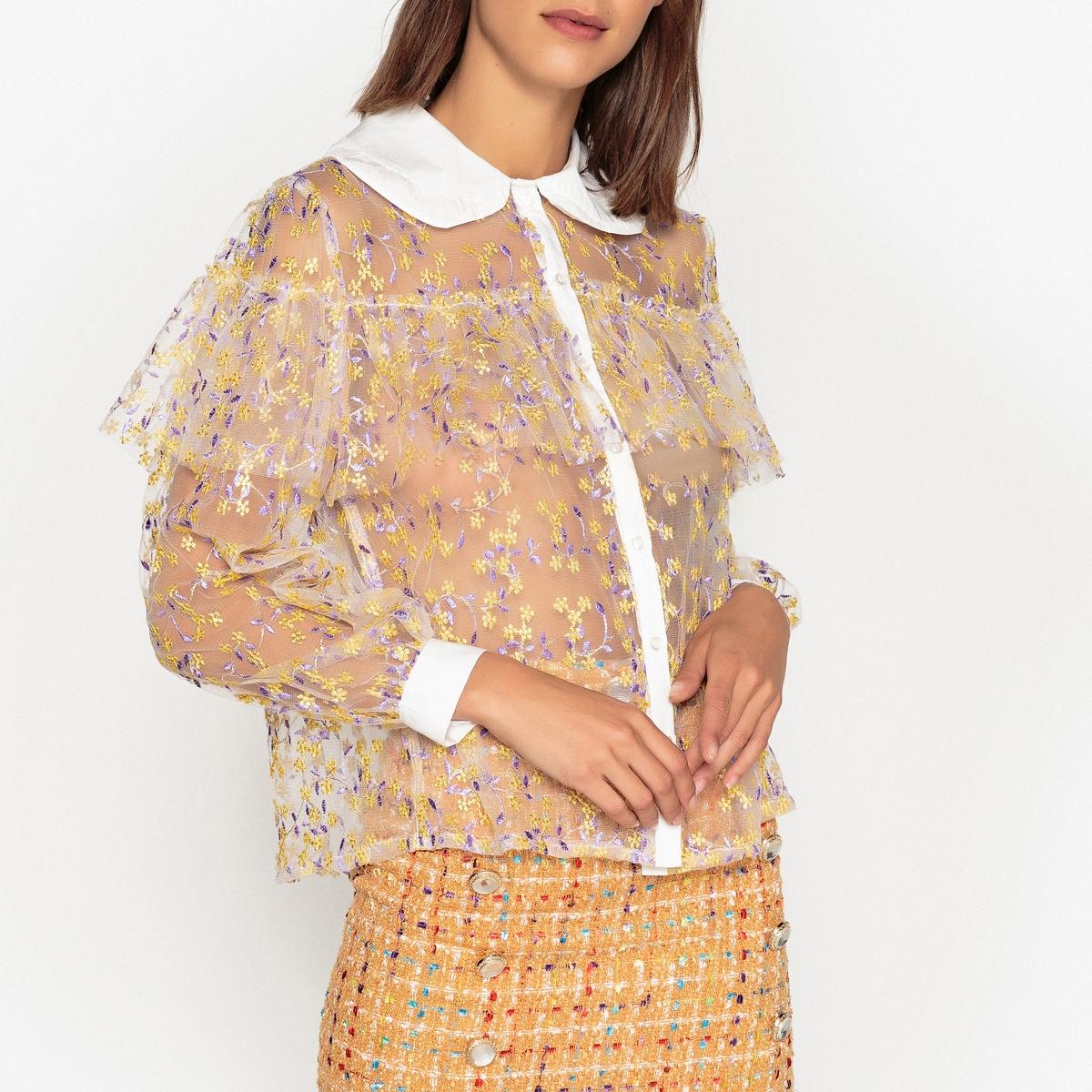 Рубашка прозрачная из тюля с вышивкой рубашка с вышивкой