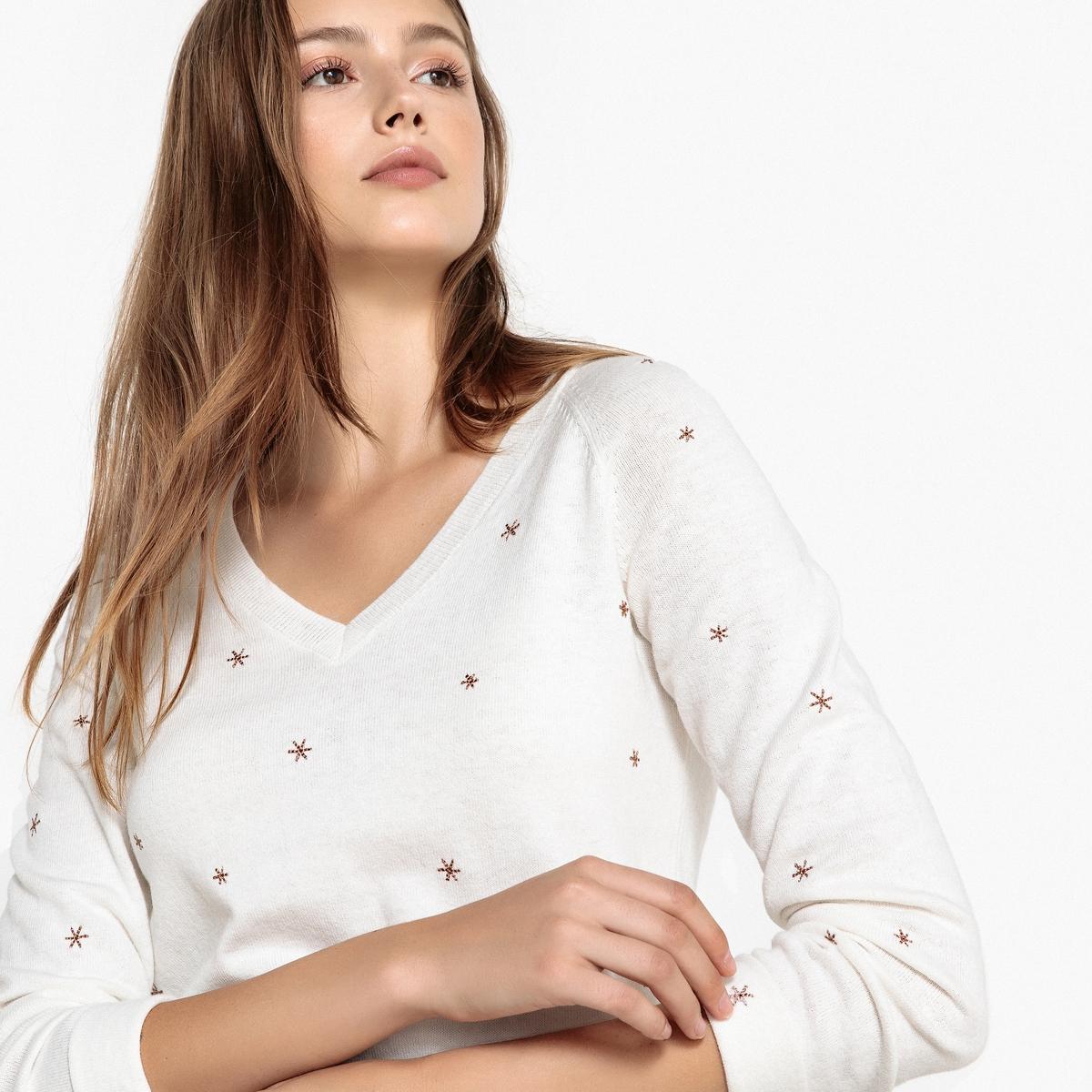 Пуловер с V-образным вырезом и вышивкой звёзды MEMPSEY пуловер с v образным вырезом