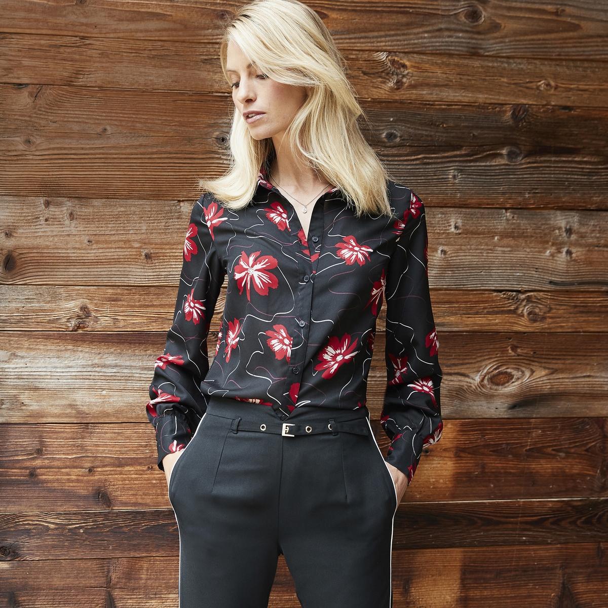 Imagen principal de producto de Camisa estampada de flores, manga larga - Anne weyburn