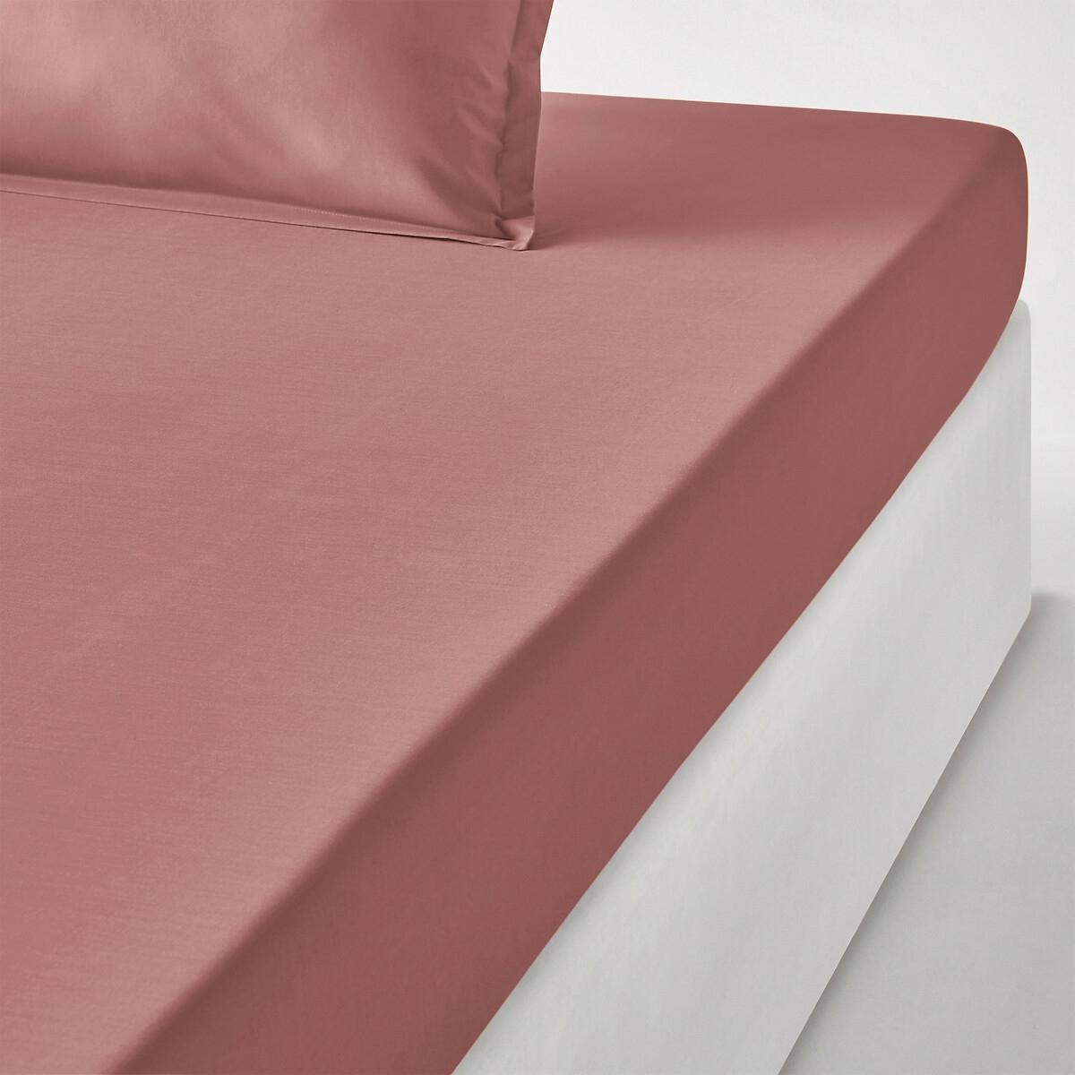 Простыня LaRedoute Натяжная детская из хлопковой перкали качество Qualit Best 90 x 200 см розовый