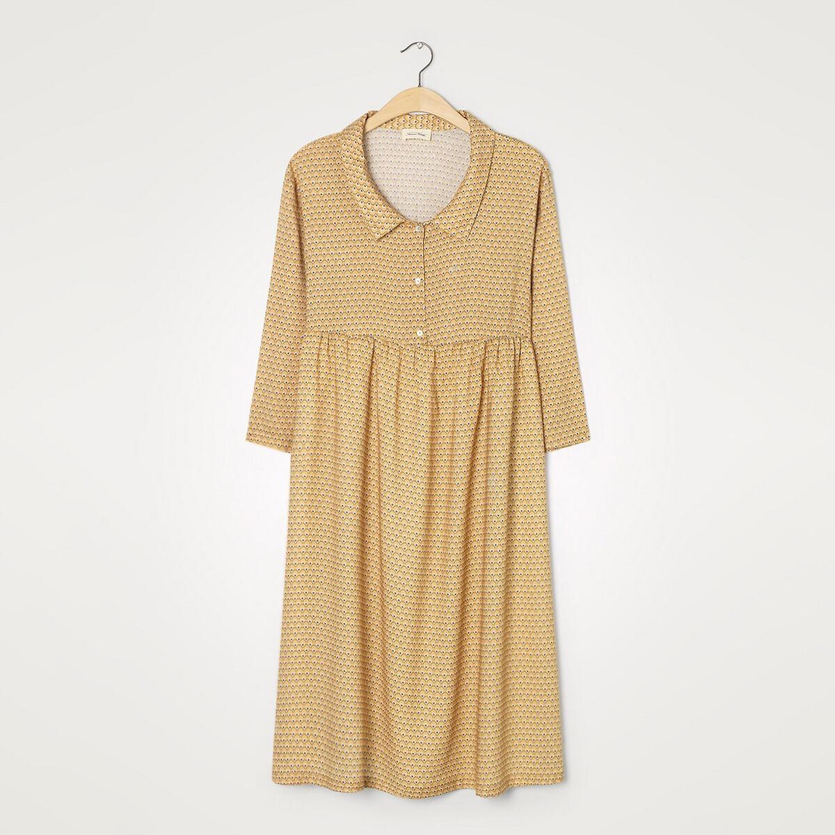 Платье La Redoute С рукавами и поясом со сборками DORABIRD XS/S каштановый платье с рукавами в 3 4 gloss