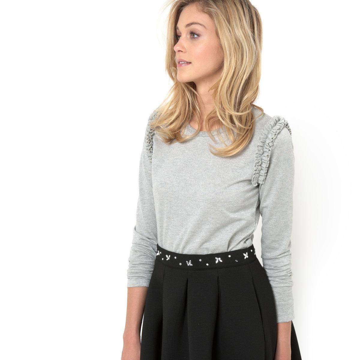 Футболка с крапчатым узором и металлизированными волокнамиLe T-shirt en maille chin?e fibre m?tallis?e - MADEMOISELLE R. Футболка с длинными рукавами, круглым вырезом. Со складками в пройме рукава. Длина 58 см . 75% хлопка, 5% полиэстера, 25% металлизированных волокон.<br><br>Цвет: серый меланж<br>Размер: 42/44 (FR) - 48/50 (RUS)