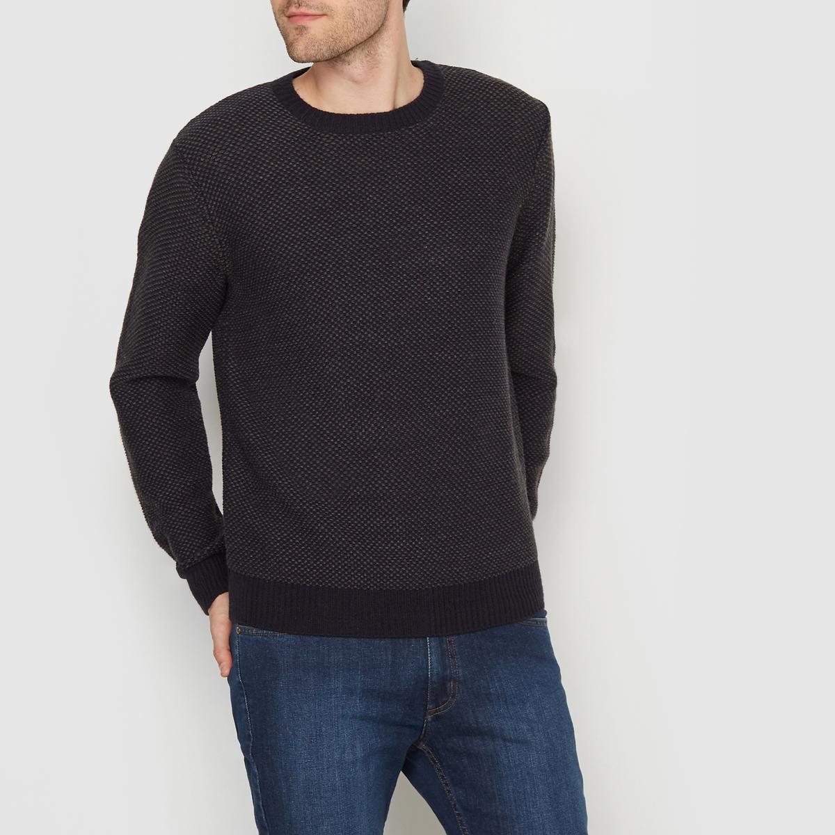 Пуловер с круглым вырезом и точечным рисункомПуловер прямого покроя с длинными рукавами и круглым вырезом. Двухцветный точечный рисунок. Края низа и манжет связаны однотонной трикотажной резинкой.Состав и описание  :Материал : 100% акрилМарка : R edition.<br><br>Цвет: темно-синий/ серый<br>Размер: XL