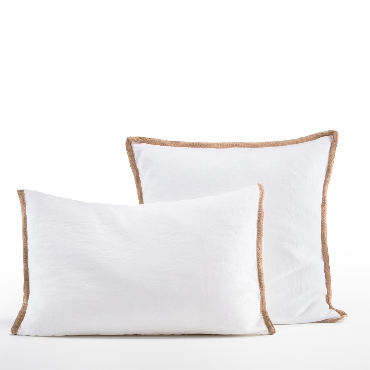 Наволочка La Redoute Из льна Celini 65 x 65 см белый чехол la redoute для подушки или наволочка однотонного цвета с помпонами riad 65 x 65 см розовый