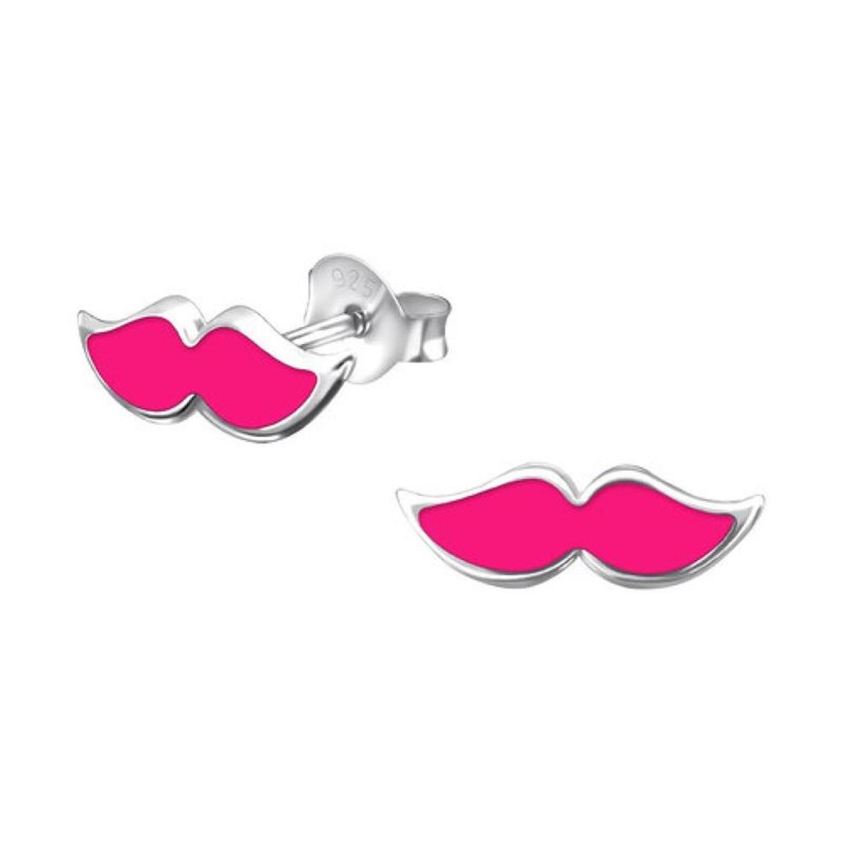 Boucles d'oreilles Moustache Rose Argent 925