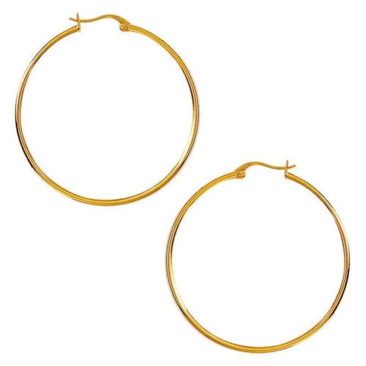Boucles d'oreilles Créoles 40 mm Plaqué Or 750