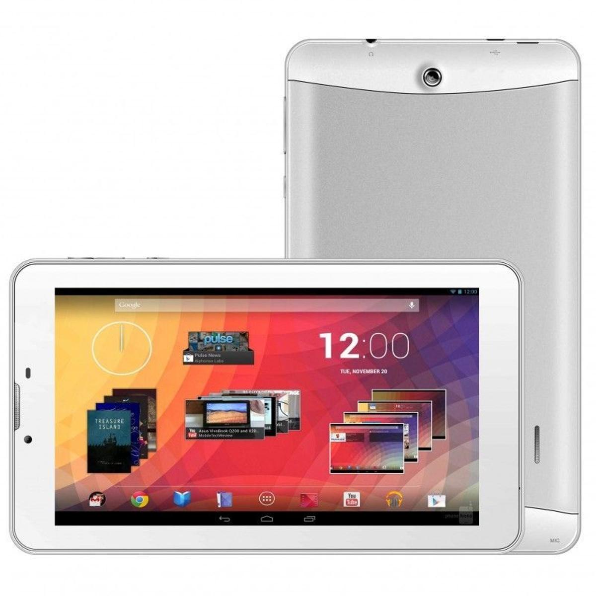 Tablette 3G 7 pouces GPS OTG Android 4.4 Double SIM 20Go Blanc