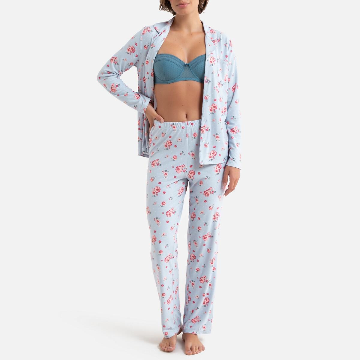 Pijama estilo masculino, estampado floral