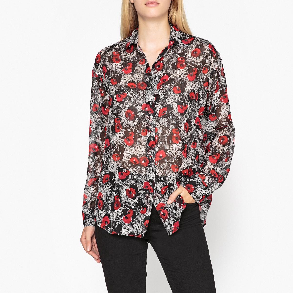 Блузка LaRedoute С цветочным принтом и длинными рукавами L серый блузка laredoute прямого покроя с бахромой l бежевый