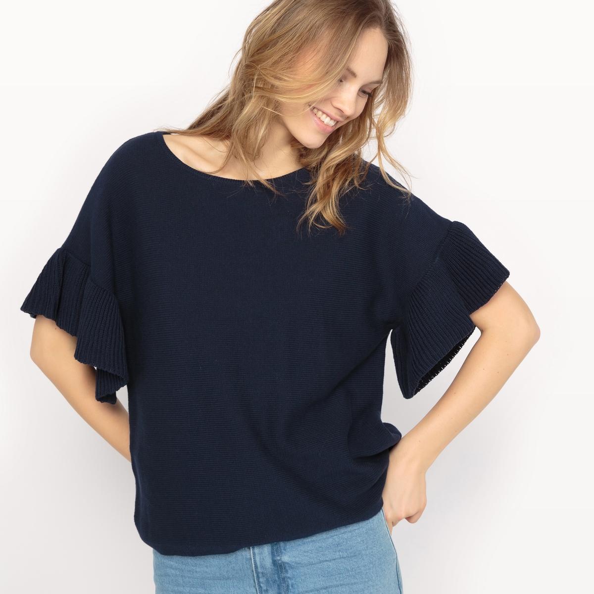 Пуловер объемного покроя с короткими рукавамиМатериал : 100% хлопок Длина рукава : короткие рукава Форма воротника : круглый вырез Покрой пуловера : стандартный Рисунок : однотонная модель  Особенность пуловера : с воланом<br><br>Цвет: темно-синий<br>Размер: S