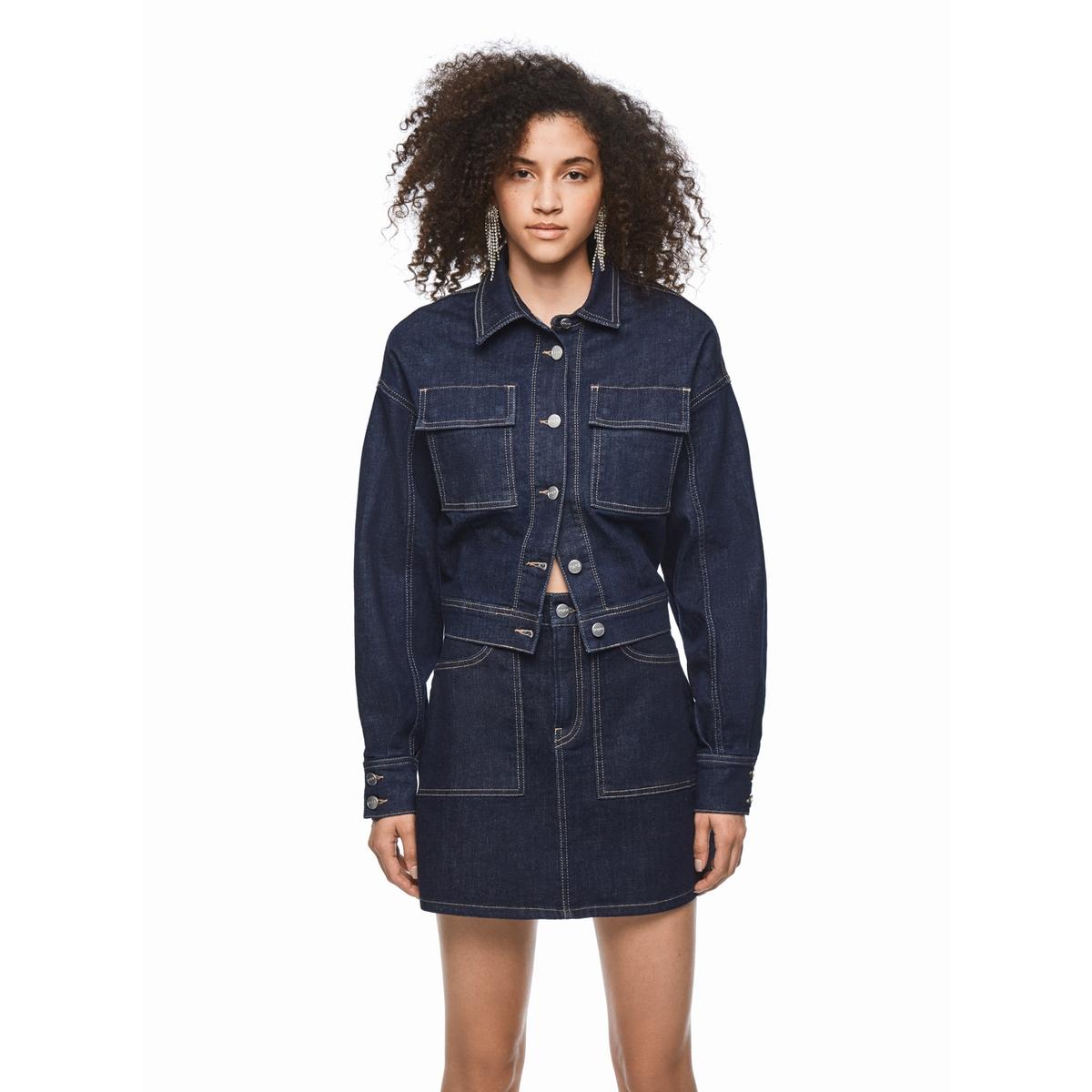 Юбка La Redoute Короткая прямая XS синий юбка la redoute короткая с завышенной талией и цветочным рисунком xs зеленый